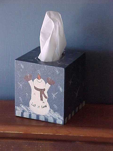 Handcrafted Snowman Tissue Box