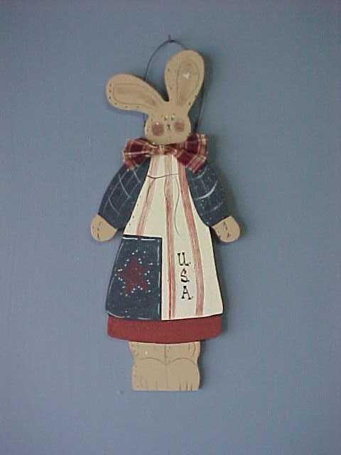 Americana Bunny, Handcrafted Wood