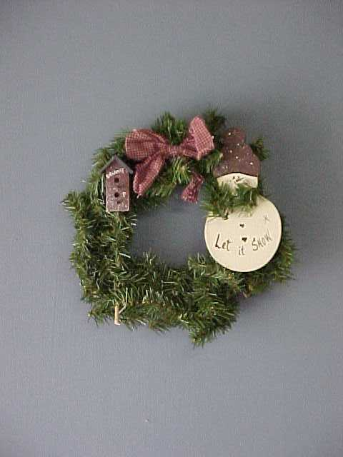 Handcrafted Christmas Birdhouse Wreath, Snowman