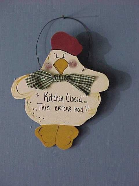 Handcrafted Wood Chickens, Country Kitchen Decor