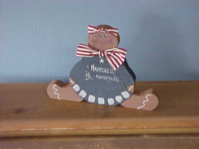 Americana Gingerbread Girl, Handcrafted Wood