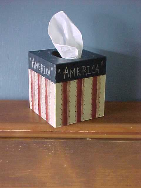 Americana Tissue Cover, Box, Handcrafted Wood